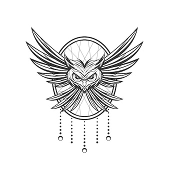 Owl line art design with ornament background