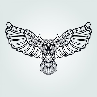 Owl line art fly with decorative wings