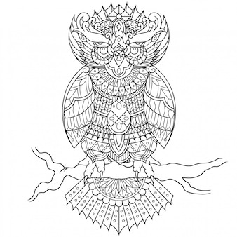 Owl in lineal style