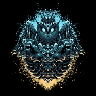 フクロウ&ライオンヘッドの図