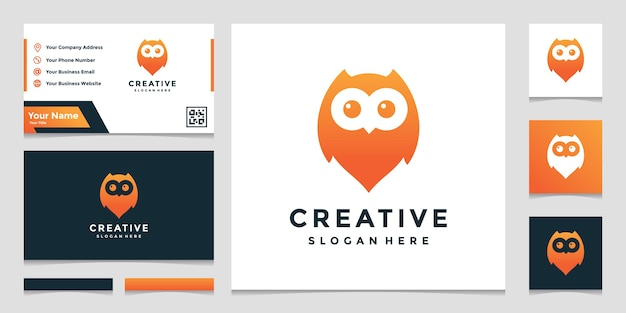 Owl location combined with elegant pin map sign logo design template
