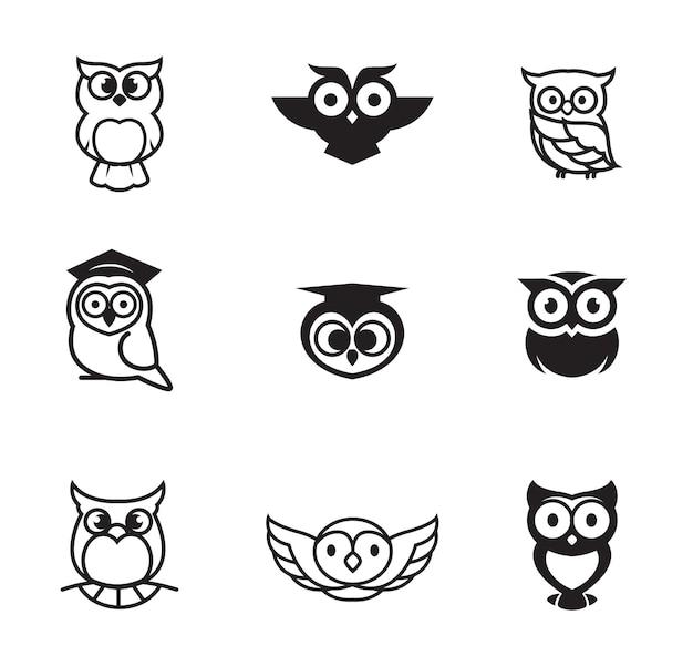 フクロウのロゴコレクション