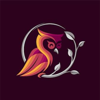 Owl logo on dark background