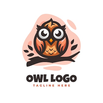 Owl logo design template with cute details