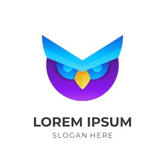 3 d のカラフルなスタイルのフクロウのロゴ デザイン Premiumベクター