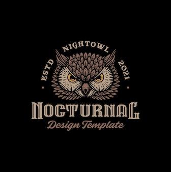 Сова логотип. дизайн эмблемы на черном фоне.