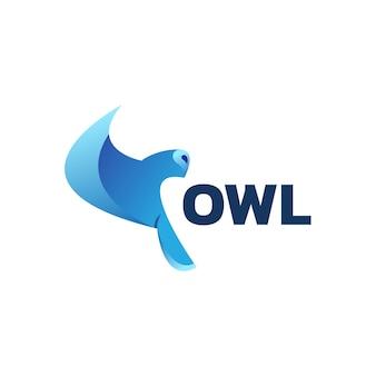 Шаблон оформления градиента логотипа совы