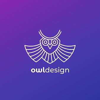 Owl logo icon, linear design