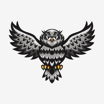 マスコットのフクロウのロゴのイラスト