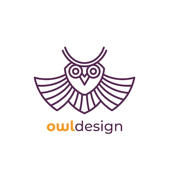 Сова логотип в линии дизайна, вектор
