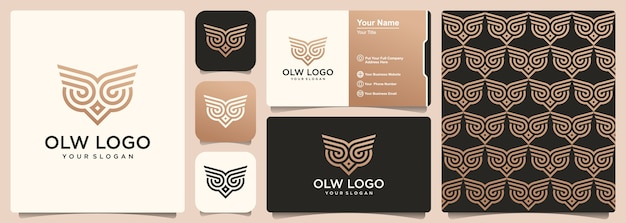 Owl logo with set of pattern and business card design template.