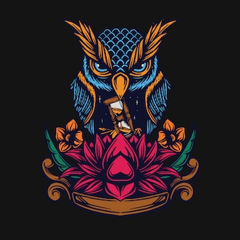Owl and lotus t-shirt design