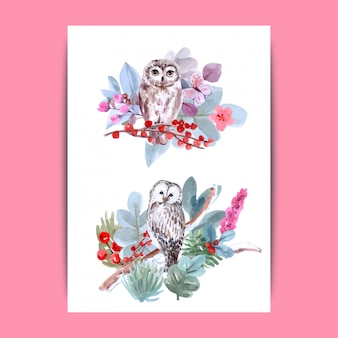 For owl lover, hand-drawn wildlife set watercolor style