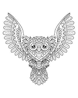 Сова мандала декоративный дизайн. раскраска
