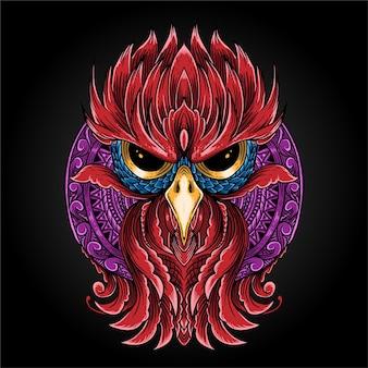 Owl and mandala isolated