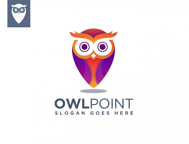 Owl map point logo template