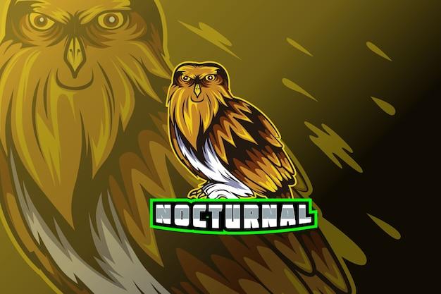 Сова талисман киберспорт для логотипа спортивной игровой команды