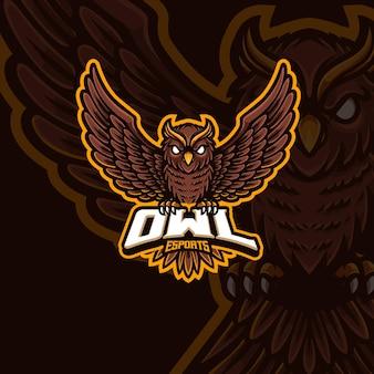 フクロウのマスコットeスポーツゲームのロゴデザイン