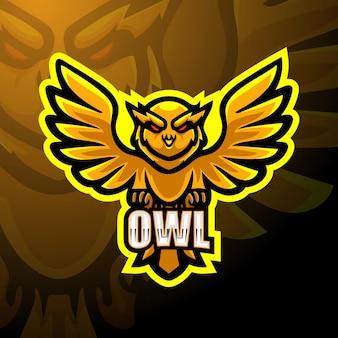 Owl mascot esport illustration