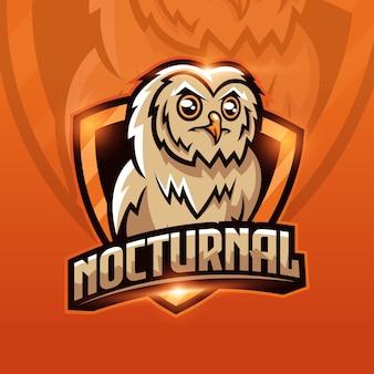 フクロウのマスコットのeスポーツのロゴデザイン