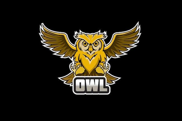 スポーツとeスポーツのロゴのフクロウのマスコット