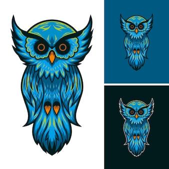 フクロウのマスコットのロゴ。図。