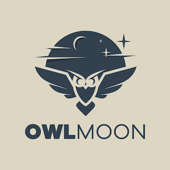 Owl moon logo illustration