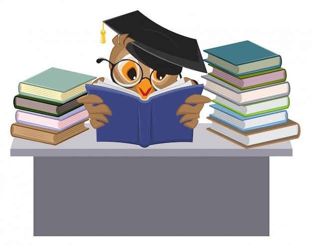 Owl in mortarboard reading book