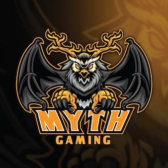 フクロウの神話esportのロゴのテンプレート
