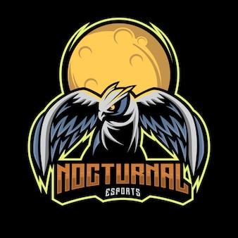 フクロウの夜のeスポーツのロゴ、月の背景と夜行性のマスコットイラスト