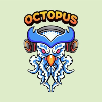 Owl octopus with earphone illustration vintage modern style for t-shirt
