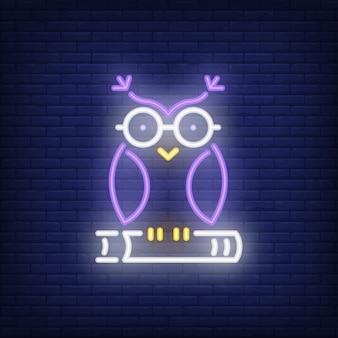 Сова на книжном неоновом знаке. умная сова в очках, сидя на книжке. ночная яркая реклама.