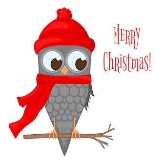 サンタクロースの帽子とスカーフの枝のフクロウ。新年とクリスマスのポストカード。白い背景に孤立したオブジェクトの鳥。テキストとおめでとうのテンプレート。