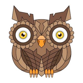 Сова или сова птица эскиз вектор изолированные значок. дикий лес пернатая ночная хищная птица сидит дикая фауна и зоология