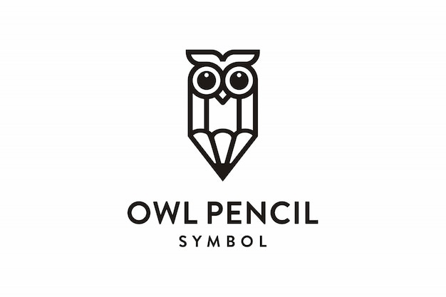 Owl pencil symbol logo