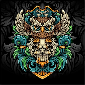 Сова пираты киберспорт талисман логотип