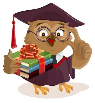 Owl professor holding books. isolated on white vector cartoon illustration