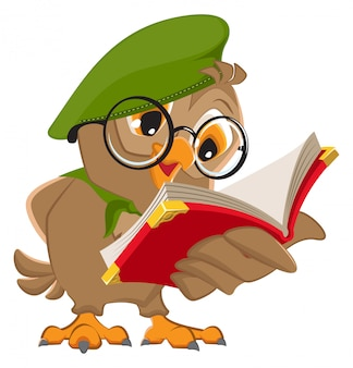 Owl reading book scout