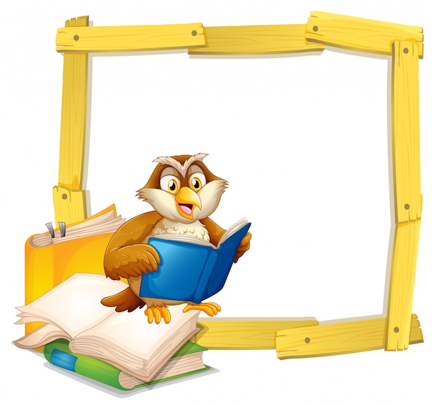 An owl reading book template