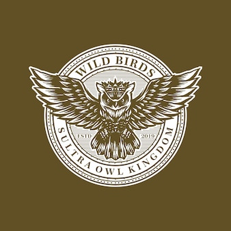 Owl retro logo template vector