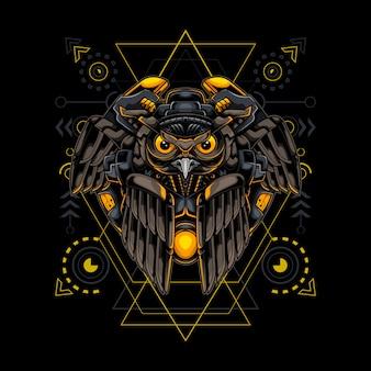 Owl robotic cyborg style sacred geometry