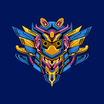 Owl samurai mecha illustration