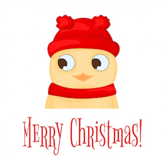 Owl in the santa claus hat and scarf. postcard for the new year and christmas. isolated ob