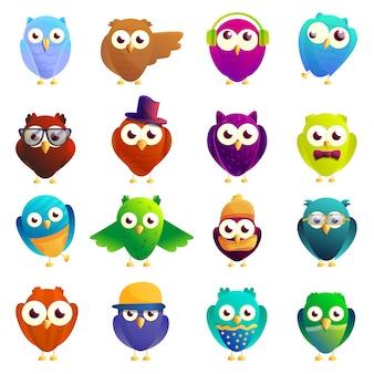 Owl set, cartoon style