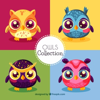 Owl set of four