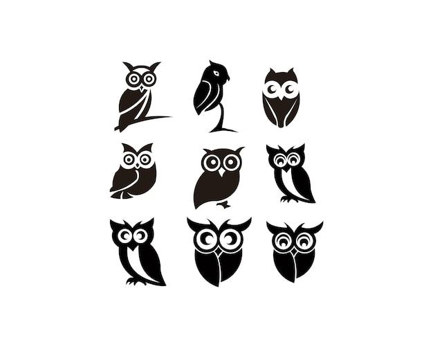 Набор силуэтов совы