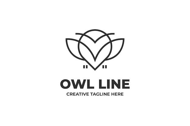 올빼미 간단한 라인 비즈니스 로고