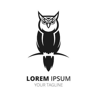 Owl simple line logo design minimalist vector