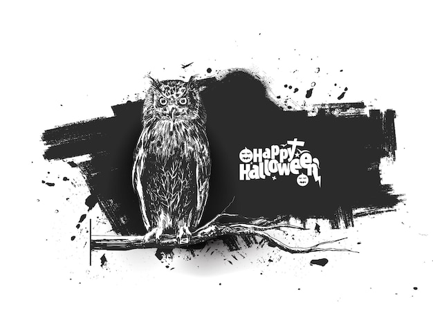 Owl sitting on a branch silhouette with happy halloween text background, hand drawn sketch vector.
