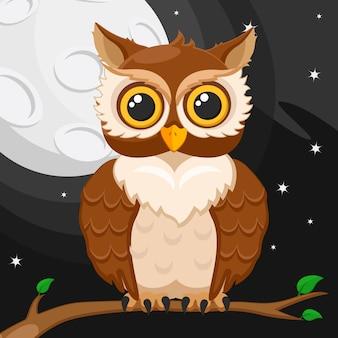 Сова сидит на ветке против луны и ночного неба. ночной хищник.